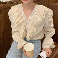 Nomikuma Mulheres Blusa Causal Ruffle Lace V-Pescoço Blusas Femme 2021 Tops Primavera Flare Manga Longa Elegante Camisas 6E828 Blusas das Mulheres