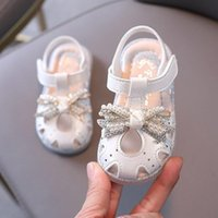 Sandals 2021 High-quality Cute Anti-collision Toddler Girls Bow Tie Beaded Soft Sole 0-3 Years Old Children's Shoes