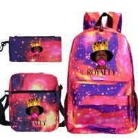 Backpack Cute Women The Melanin Bunch 3sets School Bags Pencil Case Shoulder Purse Kids For Girls Pink Bagpack Bookbag