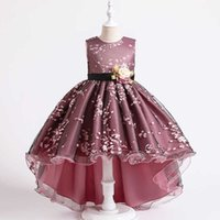 الفتاة فساتين فتاة الأميرة الوردي الشاش المطبوعة الجنية الأميرة جميلة مساء الذيل أداء رقيق تصميم اللباس