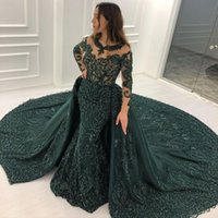 2021 Hunter Green Lace Mermaid Evening Dresses With Detachable Train Sheer Jewel Neck Beading Prom Gowns Plus Size Long Sleeves Formal Dress