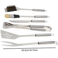 Wholesale 6 Pieces Set Stainless Steel Barbecue Tools Cooking Professional Outdoor BBQ Utensils Accessories Kit With Aluminum Box DWE7519