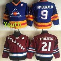 Jugendweinlese Colorado Avalanche 9 Lanny McDonald 21 Peter Forsberg Hockey Trikots Kinder Retro Vintage CCM genäht Jersey