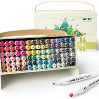Arrtx Alp 90 Colores Alcohol Dual Tip tip, conjunto de marcadores para pintar / dibujar / dibujos animados Colorear / diseñar / hacer tarjeta