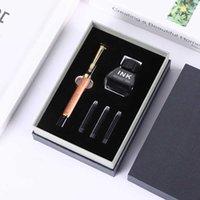 Stylo plume stylo en métal bajun images imprimable busin cadeau encrier sac double usage de papeterie boîte cadeau