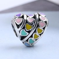 925 Sterling Silver Heart-shaped Charms Fashion glamour European beads dazzling stones Fit Pandora Snake Chain Bracelet women Jewelry DIY Making for gift