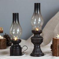 Creative Resin Crafts NOSTALGIC CHEROSENE LÁPARA Vela Soporte de vela Decoración Vintage Cubierta de cristal Linterna Candlesta