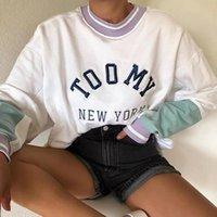 Felpe con cappuccio da donna Felpe Ricamo Lettera York Design Brand Design Allentato Bianco Felpa Donna 2021 Autunno Plus Size Top Girl Casual Long S