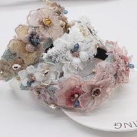 Headband Boho Handmade Pink White Lace Flower Headbands Pearl Headdress Crystal Hairbands for Women Wedding Tiara Hair Accessories