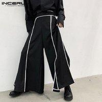 Ancerun Fashion Мужчины Широкие брюки для ног Полосатые пробежки Свободные 2020 Эластичные талии Streetwear Pantalon Punk Casual Split Hem Брюки G13U #