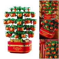 Chino Año Nuevo Orange Tree Cherry Blossom creativo con caja de música ligera Bloques de construcción LEGO Compatible Niños Juguete Niños Regalo