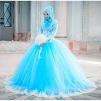 Muslim Vintage Wedding Dresses Colorful New High Neck Long Sleeve Ball Gowns Lace Tulle Middle East Princess Bridal Gowns