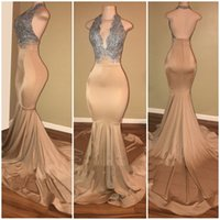 Aso Ebi 2021 Arabic Plus Size Mermaid Lace Backless Prom Dresses Halter Sexy Elegant Evening Formal Party Second Reception Gowns Dress ZJ223