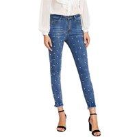 Softener Pearl Beaded Frayed Hem Jeans Casual Womens Skinny Jeans Denim Autumn High Waist Bleached Women Zipper Pants