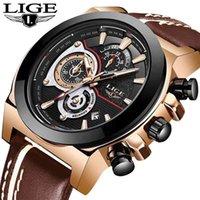 LIGE MENS montres Haut de la marque de luxe Sport imperméable bracelet de chronographe de chronographe de chronographe de quartz en cuir militaire homme Relogio Masculino 210329
