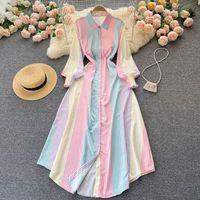 Casual Dresses Women Fashion Color Striped Slim Spring Autumn Shirt Collar Long Sleeve Work OL Elegant Dress Korean Clothes Vestidos T570