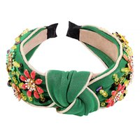 Flor con cuentas Rhinestone Studded Fashion DeeDebands Wide Band Portable Hair Jewelry Mujeres Accesorios para el Regalo del Partido Memorial