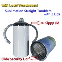 USA Stocks! Sublimation 12oz Sippy Cups Kids Mugs with Two Lids White Blanks Straight Water Bottles Slide Lid Stainless Steel Double Wall Insulated Vacuum Tumbler DIY