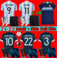 Größe: S-4XL Argentinien Maradona Messi Fußball-Trikots Frauen 2021 22 Zuhause weg Kun Agüero di Maria Lo Celso Martinez Correa Football Hemd Männer + Kinder Kit