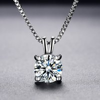 Solitaire 8mm 2ct Zirconia Diamond Pendant Necklace 925 Solid Silver Choker Statement Necklaces Women Jewelry