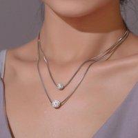 Mode double collier zircon boule clavicule chaîne coréenne simple style court femme dames ensemble bijoux usine usine de gros colliers de pendentif