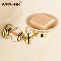 Tenedor de jabón de pared dorada de lujo Accesorios de baño de cristal decorativo Cesta de metal Plato de ducha Caja de latón retro 4553k platos