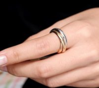 Simple hot three-ring three-color glossy rings men and women couple rings DFF3591