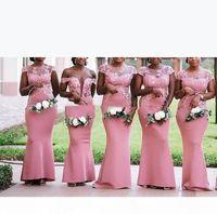Elegant Mermaid Short Sleeves Bridesmaid Dresses Lace Floor Length South African Wedding Guest Maid Of Honor Dresses