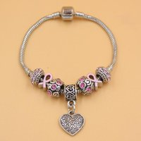 Bracelets de charme 6pcs sensibilisation au cancer du sein Bijoux rose rose bijoux européen perle style coeur Promotion