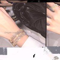 Bracelets Jewelryluxury Wide Bling Rhinestone Tennis Chain Open Bangle Sparkling Cz Diamond Crystal Bracelet For Women Party Drop Delivery 2