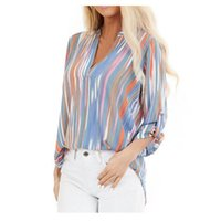Office Ladies 2021 Fashion Blouse Striped Print Autumn Full Sleeve Leisure Button V-neck All-match Simple Robe Women's Blouses & Shirts