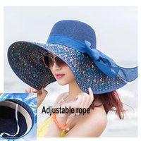 Mujer Sombrero Sombrero Playa Sunhat Doble Plegable Floppy Viaje Amplio Amplio Brim PROTECTOR DE SOL