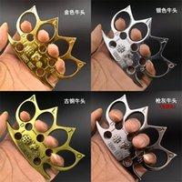 Ochsenkopf Verdickung Knöchel Schutzzahnrad Vier Finger legitimen Selbstverteidigungsknoten Ring Erwachsener Goldsplitter 6kg Q2
