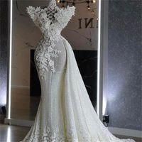 2022 Stylish Mermaid Wedding Dress with Detachable Train Sequined Lace Floral Appliques Bridal Gowns Elegant vestido de novia