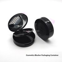 Storage Bottles & Jars Classic Black Cosmetic Powder Compact With Mirror Round Double Layer 59mm DIY Empty Container Packing Box Beauty Subp