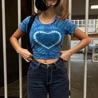 Women's T-Shirt Y2K Women Crop Top Summer Round Neck Graphic Print Short Casual Fashion Sleeve Ladies Blue Streetwear