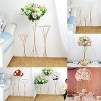 12 Pcs Luxury Wedding Centerpiece Flowers Rack Long Table Decoration Flower Plinth Stand Vase Iron Column Pillar Road Lead For Event Party Birthday Backdrops