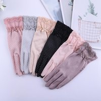 Five Fingers Gloves Women Spring Summer Dot Print Anti-Slip Sunproof Touch Screen Mittens With Mini Bow Knot Outdoor Driving Cycling Glove