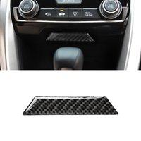 For Honda Civic 10th 2016-2021 Carbon Fiber Auto Car Accessories Center Storage Box Trim Cover Frame Sticker Interior Decoration