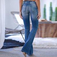 Kadın Kot 2021 Orta Bel Kadın Kadınlar Için Yırtık Büyük Boyutları Pantolon Çan Alt Casual Denim Şişman Anne Flare Skinny Kadın