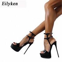 Sandales d'été de Plateforme Eilyken Style Sexy 17cm Femmes Sandales Sandales Haute Talons Open Toe Boucle Nightclub Chaussures Noir Grande taille 46 K3YW # #