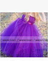 2019 Lovely Cheap Purple Flower Girls Dresses for Wedding Tulle Ball Gown Communion Dresses Kids Birthday Party Christmas Dresses