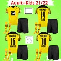 Adulto + kit infantil com meias 21 22 Camisa de futebol Borussia dortmund 2021 2022 HAALAND REUS SANCHO HUMMELS BRANDT terno masculino 1990 Conjuntos masculinos de edição limitada