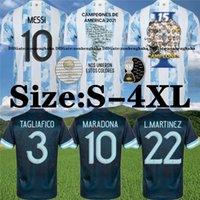 Argentina Maradona Messi Soccer Jerseys 2021 22 Hogar lejos Kun Agüero di Maria Lo Celso Martinez Correa Camisa de fútbol Tamaño S-4XL