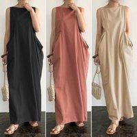 Dresseselegant Dresses Solid Maxi Women's Summer Sun Zanzea 2021 Casual Sleeveless Sarafans Vestidos Female Cotton Robe Plus Size