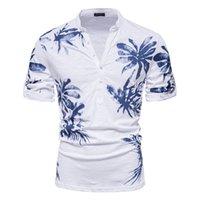 Aiopeson Hawaii Tarzı T-shirt Erkekler 100% Pamuk Orta Kollu erkek T Shirt Yaz Kalite Rahat Baskılı Tee Gömlek Erkek 210707