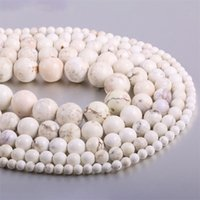 Bianco Blu Turches Branelli di pietra rotondi Spacer Perline Risultati 4 / 6/8/10 / 12 mm per gioielli Fare fai da te Materiale artigianale Materiale 370 T2