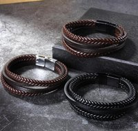 Classic Multi layer Leather Bracelet For Men Vintage Braided rope Wristband Magnetic clasp Fashion Jewelry Gift