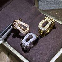 Bijoux de luxe Bijoux Marque originale Design Horseshoe Forme Femme / Man Fred Trend Trend Fine Zircon Legacy paire Anneaux