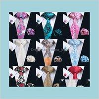 زهرة نمط الرقبة التعادل مجموعة كلاسيكي الحرير هانكي أزرار أكمام الجاكار المنسوجة بالجملة ربطة العنق الرجال التعادل مجموعة ZL41K FVF8N